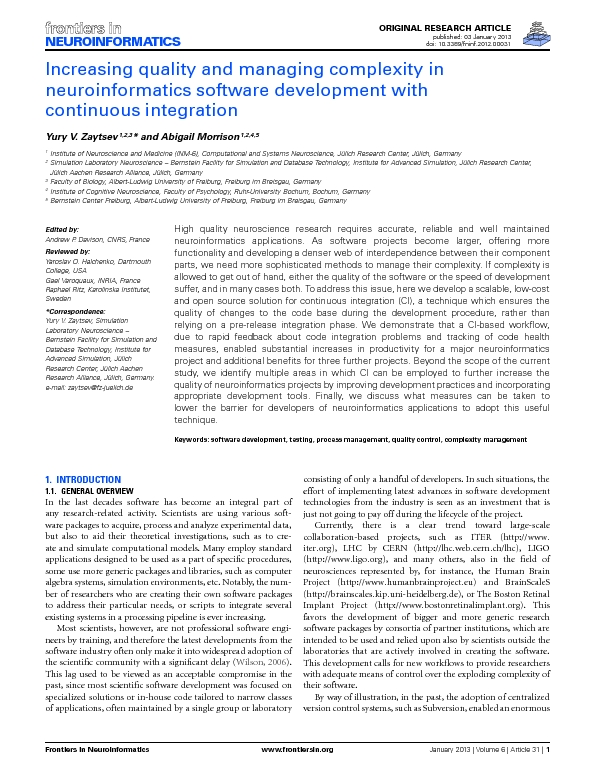 Increasing quality and managing complexity in